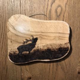 Plankje houtbrandkunst origineel burlend hert