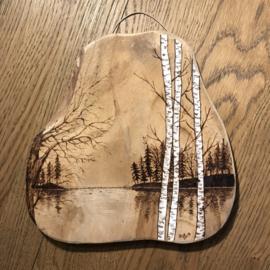 Plankje houtbrandkunst origineel landschapje