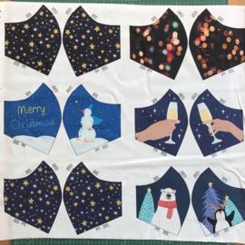 Kerst editie paneel met geprinte mondmaskers «stay safe!» blauw