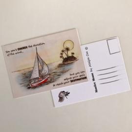 "Maurice Mouse © Postkaart. ""Adjust your sails"""