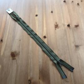 Open kunststof spiraalrits  5mm tandjes YKK met twijzijdige opening kaki 45 cm