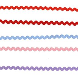 Zigzag lint 9 mm., diverse kleuren