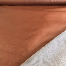 Tricot denim-look met leatherette cognackleur