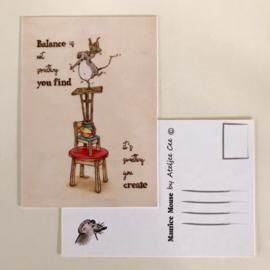 "Maurice Mouse © Postkaart. ""balance"""