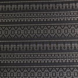 Tricot jacquard zwart met blauw en wit patroon