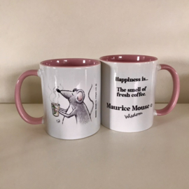 "Maurice Mouse © mok ""coffee, roze"" Engelse versie."