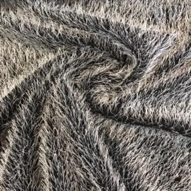 Furry zilvergrijs op zwart
