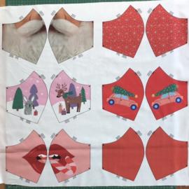 Kerst editie paneel met geprinte mondmaskers «stay safe!» rood