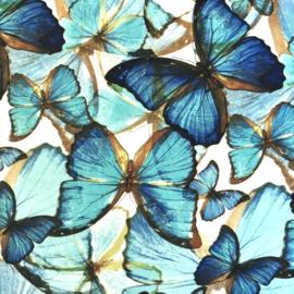 Crèpe chiffon blauwe vlinders