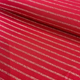 Rode ribtricot met gouden lurex streepje