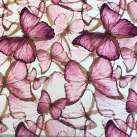Crèpe chiffon rose vlinders
