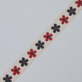 Geprinte sierlint bloempje rood/grijs