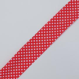 Geprinte katoenen bias lint 25 mm.,  rood met witte stippen