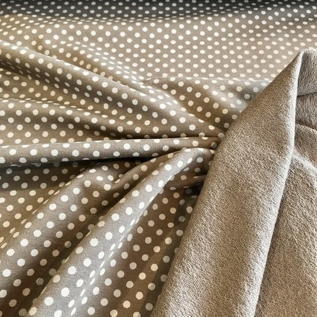 Dotty taupe french terry (lichte sweaterstof)
