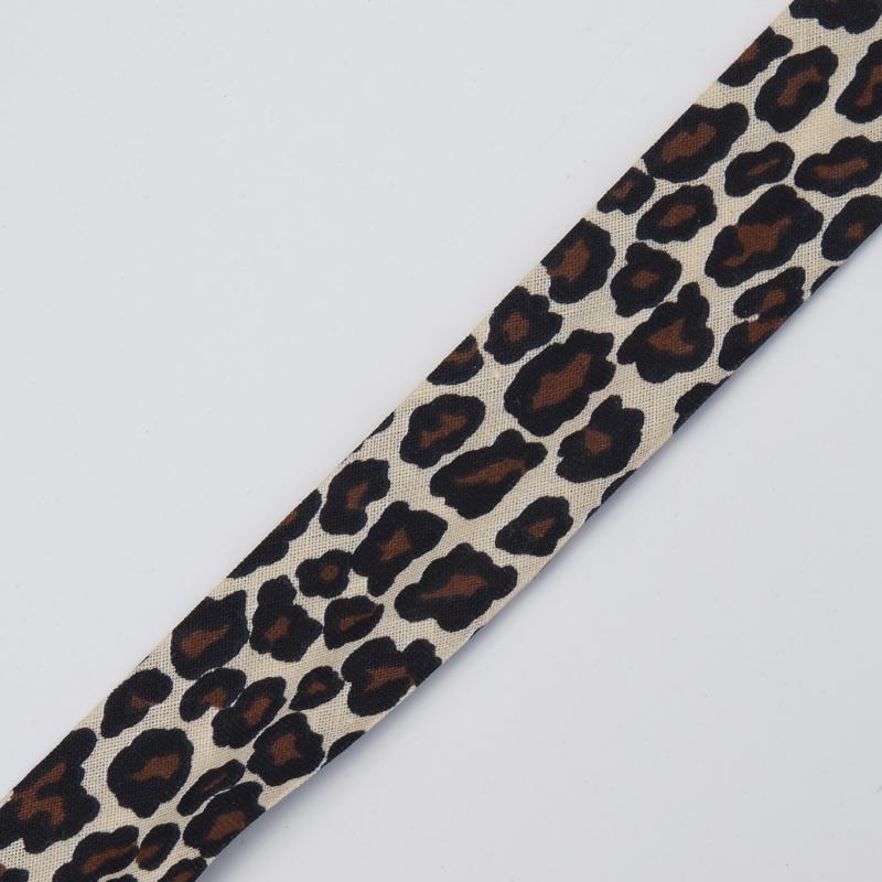 Geprinte katoenen bias lint 25 mm., luipaard, bruin/beige