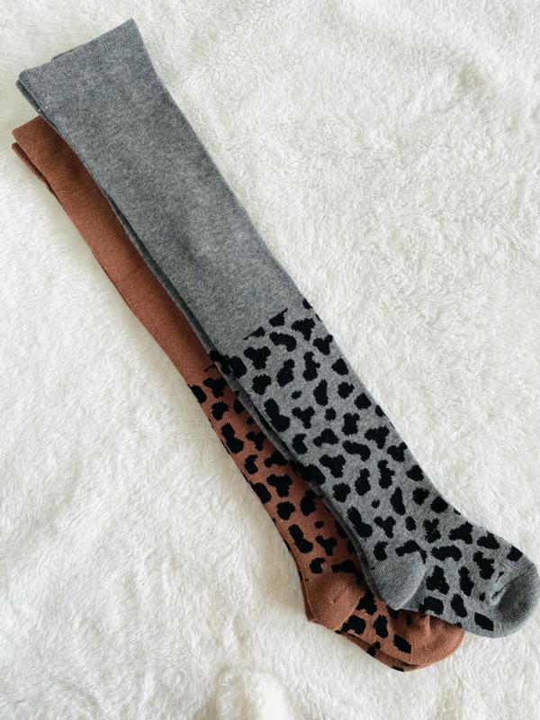 Kousenbroek luipaard grijs