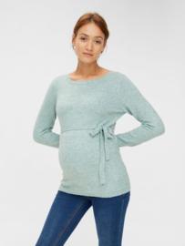 Mama Licious Kinsley Oversize L/S Knit Top Sagebrush Green Detail Mel