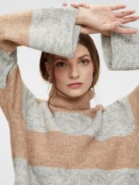 Yas Allu LS Stripe Knit Pullover Light Grey Melange Stripes