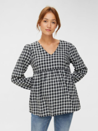 Mama Licious Cheeky L/S Woven Top Black Checks White