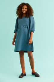 Mama Licious Lina 3/4 Jersey Short Quilted Dress Mallard Blue
