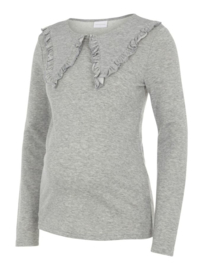 Mama Licious Fey L/S Jersey Top Light Grey Melange