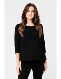 Ripe Waffle Peplum Top With Sleeves Black