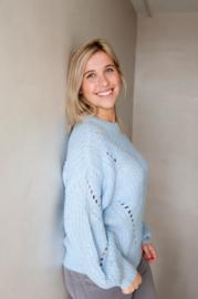 yas Powda LS Knit Pullover Powder Blue