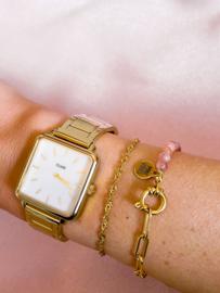 Armbandje rozenkwarts schakels  goud