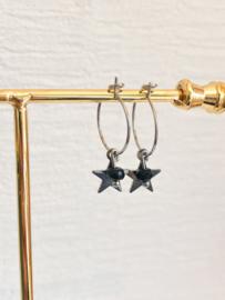 Oorbellen starry night zwart zilver