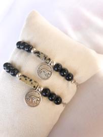 Armbandje jaspis zwart zilver