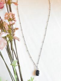 Ketting agaat zwart zilver