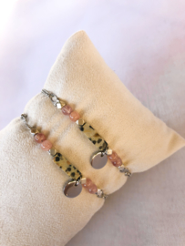 Armbandje jaspis rozenkwarts zilver