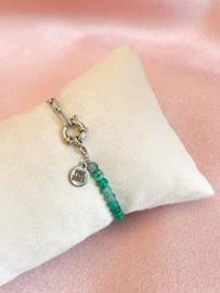 Armbandje turquoise schakels zilver