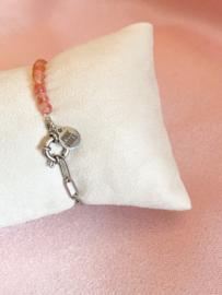 Armbandje rozenkwarts schakels  zilver