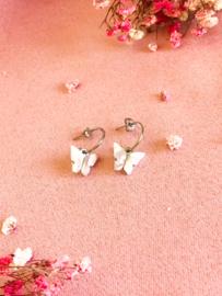 Oorbellen halve ringen vlinder beige zilver