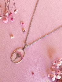 Ketting droogbloemen roze zilver