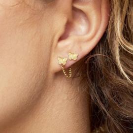 Oorbellen vlinder met ketting goud