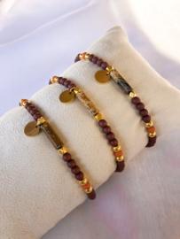 Armbandje natuursteen roest goud