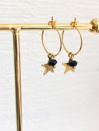 Oorbellen starry night zwart goud