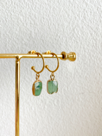 Halve ringen groene aventurijn goud