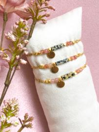 Armbandje jaspis rozenkwarts goud