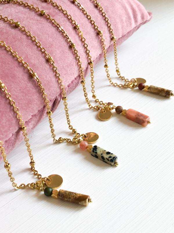 Ketting jaspis rozenkwarts goud