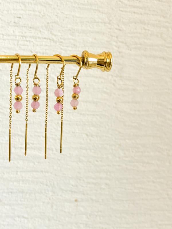 Oorbellen drop roze goud