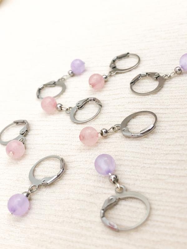 Oorbellen rozenkwarts zilver