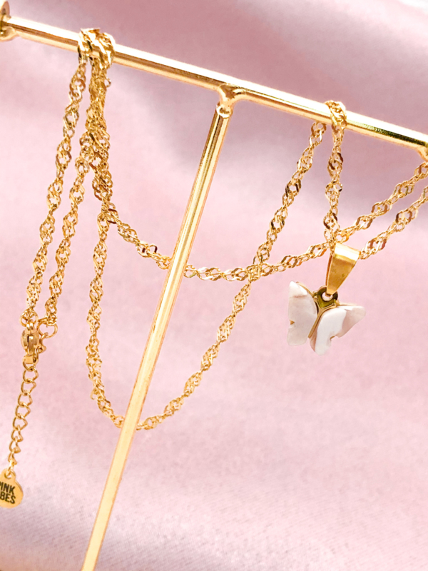 Ketting vlinder goud
