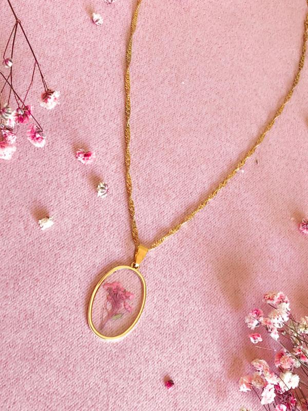 Ketting droogbloemen roze goud