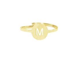 Ring - Initial in Round Goud