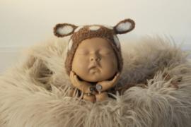 Newborn reeën bonnet brushed alpaca