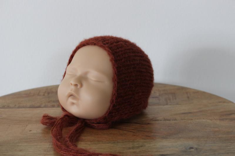Newborn bonnet roest alpaca