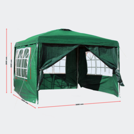 Tuintent partytent paviljoen 3x3m losse zijpanelen groen
